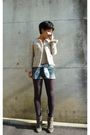 Gray-boots-gray-tights-blue-shorts-gray-uniqlo-t-shirt-jacket-hermes-s