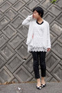 Black-from-japan-shoes-white-lace-top-black-faux-leather-pants