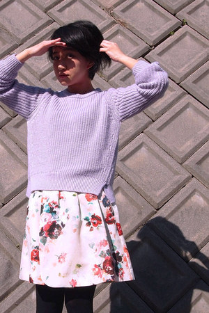 light purple sweater - ivory floral print skirt