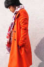 Orange-from-japan-coat-eggshell-floral-scarf-navy-jeans-diesel-pants