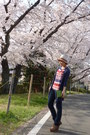 Jeans-white-from-japan-hat-navy-topshop-cardigan-red-striped-zara-top-li