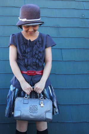 dark brown straw hat - loewe bag - brown ruffled blouse - dark khaki H&M skirt -