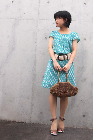 bronze anteprima bag - turquoise blue polka dots from japan dress - beige belt