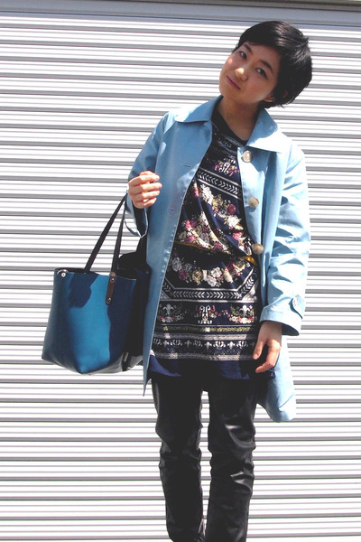 navy scarf print top - sky blue spring united arrows coat