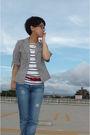 Gray-jacket-top-red-belt-diesel-jeans-shoes