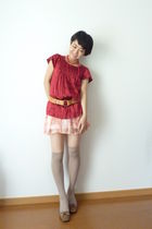 red top - red skirt - beige - shoes - belt