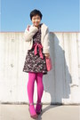 Maroon-shoes-black-floral-tocca-dress-off-white-knitted-despres-jacket-hot