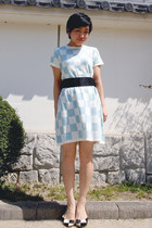 white checkered shoes - light blue checkered asos dress