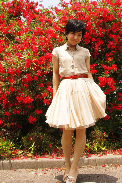 beige banana republic blouse - red belt - eggshell tutu Tomorrowland skirt