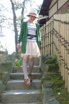 light brown nollys hat - olive green bag - cream Tomorrowland skirt - brown obi
