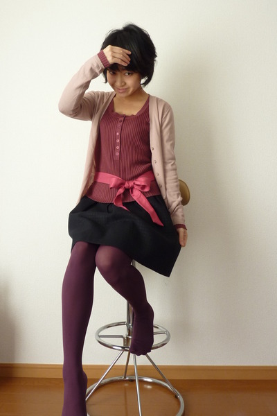 purple tights - light pink cardigan - maroon top - pink bow - black skirt