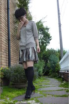 H&M skirt - gold icb from japan top - black socks - black shoes