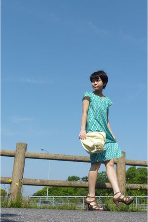 green dress - yellow scarf - shoes