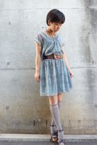 gray dress - gray socks - brown belt - brown shoes - necklace