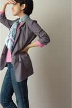 blue Hermes scarf - gray blazer - pink top - blue jeans
