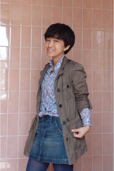Zara coat - Gap skirt - blouse