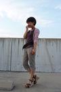 Pink-cardigan-brown-top-pants-shoes
