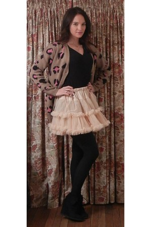 light pink American Apparel skirt - camel leopard print lucca couture sweater