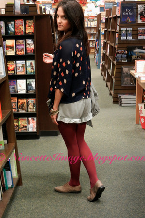 navy Parker top - brick red Anthropologie tights - silver free people shorts