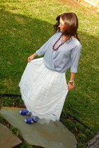 blue vince shirt - ivory see you monday skirt - blue Jeffrey Campbell wedges