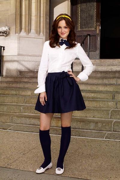 white shirt - black socks - white flats - navy tie - black skirt