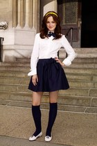 white shirt - black socks - white flats - navy tie - black skirt