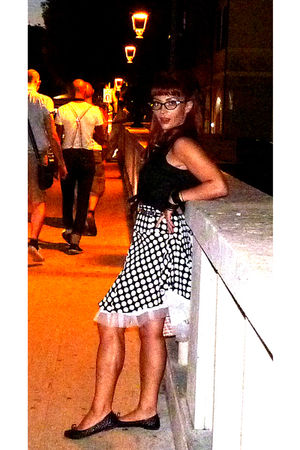 black top - black my creation skirt - black Ebay glasses