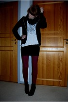 black H&M cardigan - white Topshop top - black Monki skirt - red H&M tights - bl