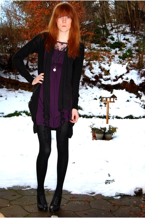 black H&M cardigan - purple Urban Outfitters dress - black vintage scarf - black