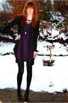 black H&M cardigan - purple Urban Outfitters dress - black vintage scarf - black