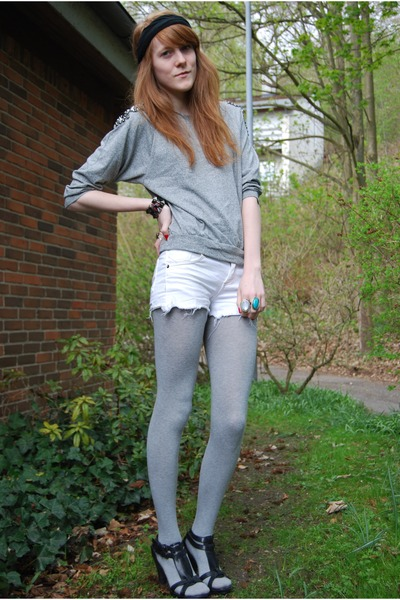 black DIY accessories - gray H&M blouse - white Sparkz shorts - gray H&M tights