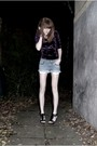 Purple-bikbok-dress-blue-zara-shorts-black-bianco-footwear-shoes