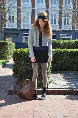 black DIY accessories - blue H&M jacket - blue Topshop top - black Monki skirt -