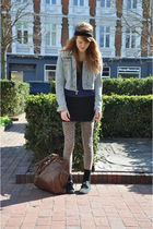 black DIY accessories - blue H&M jacket - blue Topshop top - black Monki skirt -