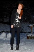 black h&m divided cardigan - brown H&M Trend top - black Cheap Monday jeans - bl