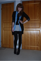 black H&M cardigan - blue Zara shirt - black Monki top - white GINA TRICOT skirt