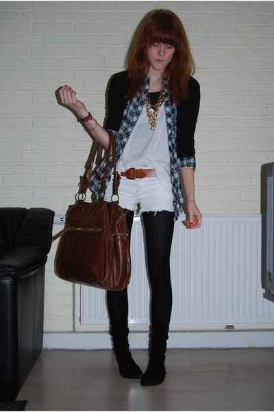 black H&M cardigan - green Topshop shirt - white H&M top - brown accessories acc
