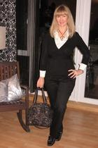 sweater - pants - blouse - Luna llena purse - necklace - shoes