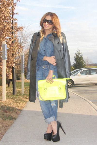 blue denim H&M shirt - black AX coat - blue boyfriend jeans Forever 21 jeans