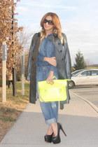 blue denim H&M shirt - black AX coat - blue boyfriend jeans Forever 21 jeans