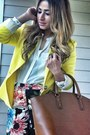 Black-floral-pants-h-m-pants-yellow-zara-blazer-brown-zara-bag