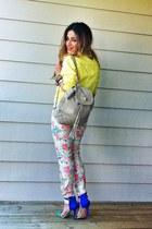 white floral pants Zara pants - yellow bomber jacket Topshop jacket
