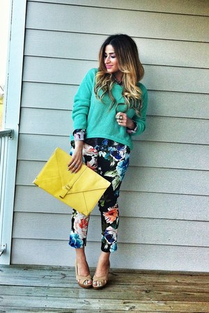 yellow clutch pastel asos bag - aquamarine mint asymmetric Forever 21 sweater