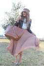 Brown-zara-bag-tan-zara-skirt-ivory-celine-t-shirt