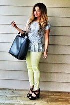 off white peplum alloy top - black Zara bag - light yellow pastel Zara pants