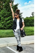 silver sanke print Zara pants - black studded bag VJ-style bag