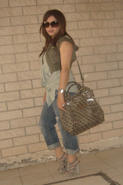 green vintage vest - green Newlook top - gray Zara shoes - silver Guess purse -