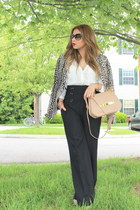 beige Zara blazer - white Zara shirt - black Mango pants
