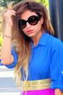 Blue-zara-shirt-brown-louis-vuitton-bag-amethyst-h-m-skirt