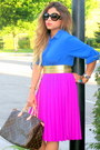Blue-zara-shirt-brown-louis-vuitton-bag-amethyst-h-m-skirt